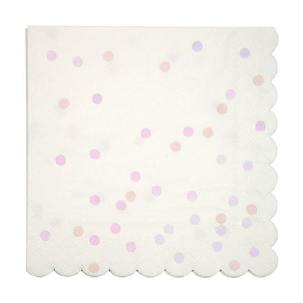 Meri Meri Pink & White Iridescent Spotty Napkins - pack of 16 Large